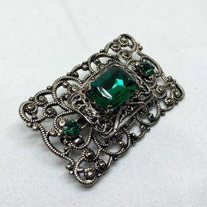 🆕Vintage NOS Silver & Green Rhinestone Pin